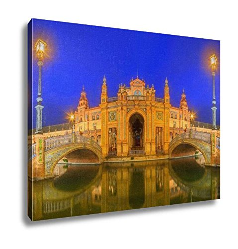 Ashley Canvas, View Of Bridges And Lights In Spain Square At Evening Landmark In Renaissance, Kitchen Bedroom Dining Living Room Art, 24x30, AG5776876 by Ashley Canvas