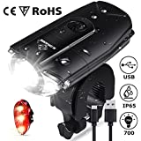 N N.ORANIE Super Bright 700 Lumens Bicycle Lights Front and Back Rechargeable Bike Light Set IP65 Waterproof Quick Release Headlight and Taillight Bicycle Flashlight for Safe Cycling