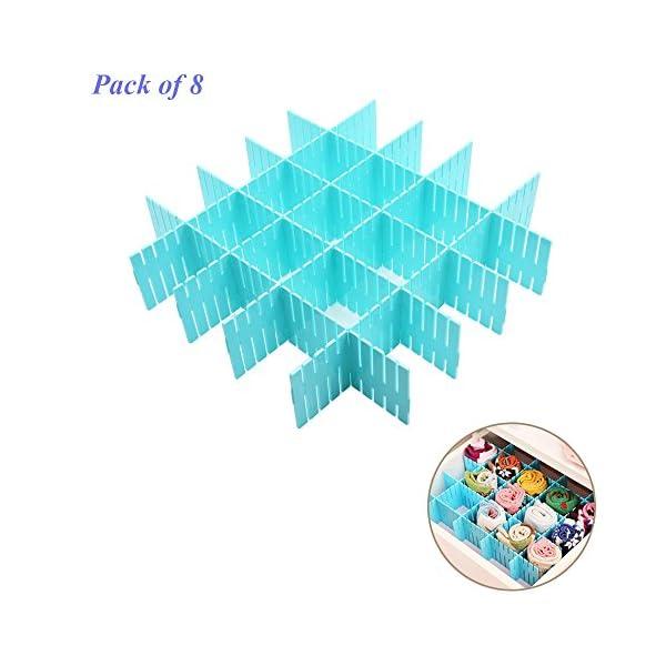 51mLLMf%2BfOL WeFoonLo 8pcs DIY Plastic Drawer Organizer Verstellbare Schubladenunterteiler für ordentliche Schränke, Socken…