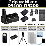 Battery Grip for Nikon D5100, D5200 DSLR Cameras, (2) EN-EL14 Long Life Batteries, Home/Car Charger, Universal Wireless Remote, All-In-One Card Reader & eCostConnection Starter Kit