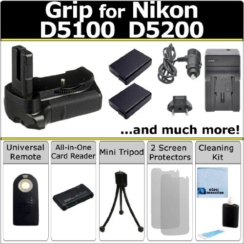 Battery Grip for Nikon D5100, D5200 DSLR Cameras, (2) EN-EL14 Long Life Batteries, Home/Car Charger, Universal Wireless Remote, All-In-One Card Reader & eCostConnection Starter Kit - Nikon D 5100 Charger