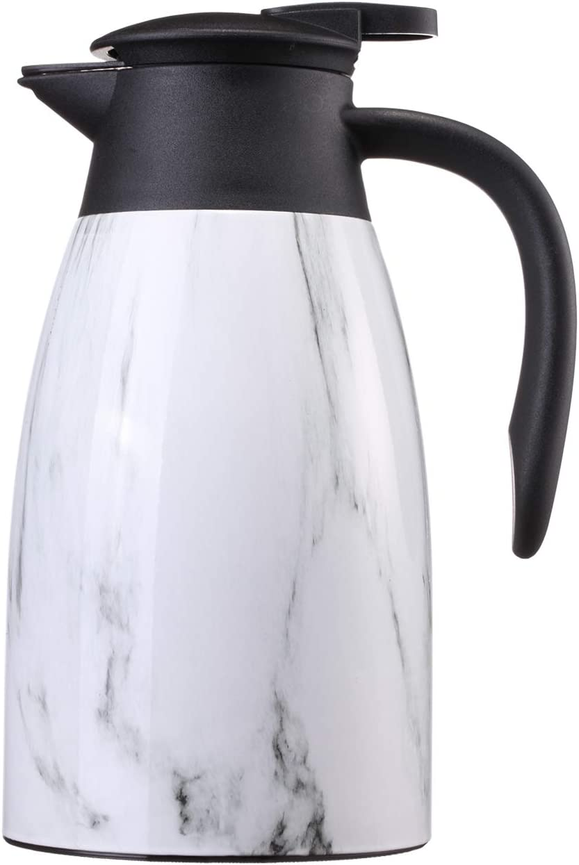 Sumerflos 1.5L/50 Oz Thermal Coffee Carafe - Double Wall Stainless Steel Vacuum Insulated Thermos - Leak Proof Lid with Dust Cover - Cool Touch Handle - Heat and Cold Retention (Marble)