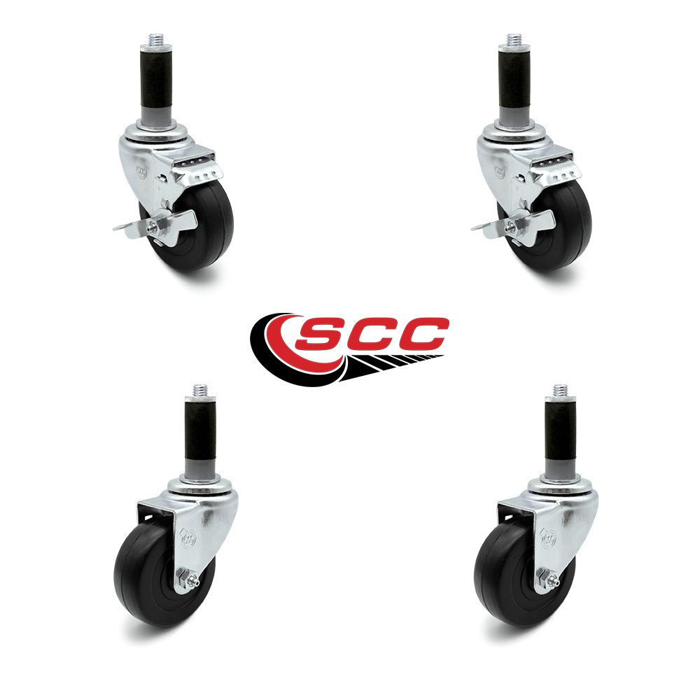 Polyurethane with Precision Bearings for 3//4 ID Tubing 4 Expandable Stem Caster Set