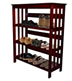 Men's Cherry Finish Large Shoe Rack (Shoes NOT Included). Great for the Closet, Entry Way, or Mud Room!