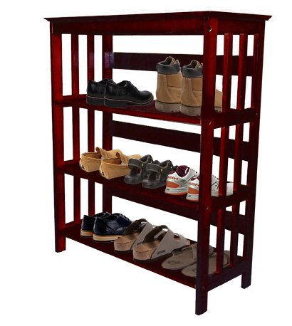 Menu0027s Cherry Finish Large Shoe Rack (Shoes NOT Included). Great For The  Closet