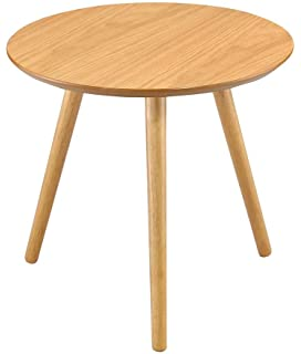 Yabbyou Tall Solid Oak Small Round Oak Coffee Table 45cm wide