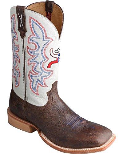 Gedraaide X Mens Witte Hooy Cowboylaars Vierkante Neus - Mhy0011 Bruin Wit