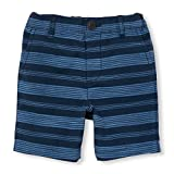 The Childrens Place Baby Toddler Boys His Lil Striped Flat Front Short, Captain Navy, 2T