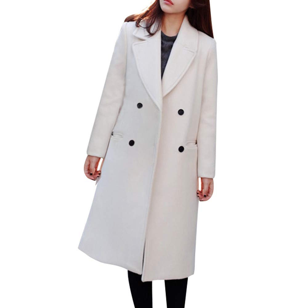 Pervobs Women Elegant Pocket Work Office Button Woolen Thick Jacket Coat Outwear