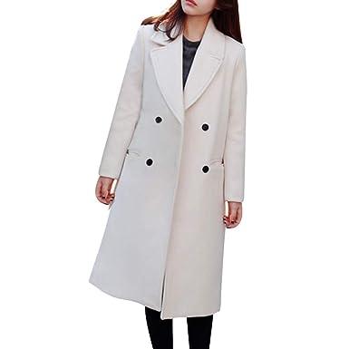 kingwo Femme Manteau d hiver Manteaux Manteau Long en Laine de Couleur Unie  Manteau à f6fe1bddaf03