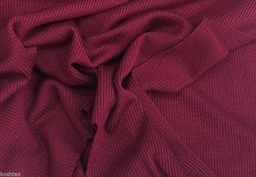 2x1 Jersey Rib - Burgundy Eco-Friendly Fabric 4 Way Stretch (Cotton Micro Rib)
