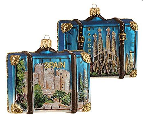 Spain Suitcase Barcelona Spain Sagrada Familia Polish Glass Christmas Ornament Travel Souvenir 070 by VT-Ornaments