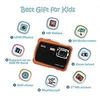 "ISHARE Kids Camera, 12MP 1080P Waterproof Digital Camera with 2"" LCD, 8X Digital Zoom, Flash for Kids Girls Boys"
