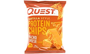 Quest Nutrition Protein Tortilla Chips, Nacho Cheese, 18g Protein, 4g Net Carbs, 150 Calories, Low Carb, Gluten Free, Soy Free, Potato Free, Baked, 1.2oz Bag, 8 Count