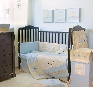 Amazon Com Baby Crib Bedding Set Boy Blue Bunny Crib Bedding