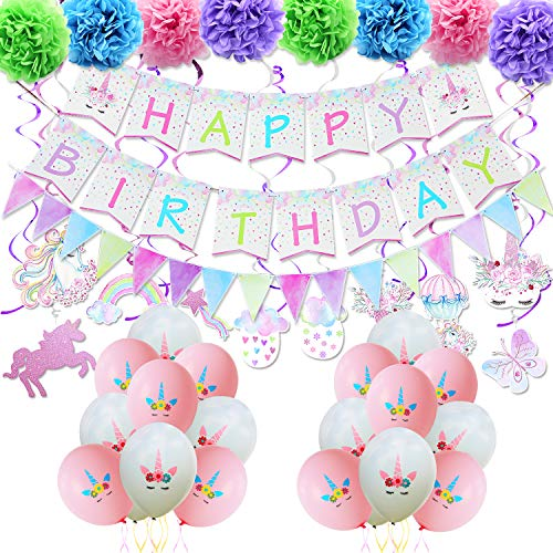 WERNNSAI Unicorn Party Decoration Kit - Magical Unicorn Themed Party Supplies for Girl Birthday Celebration Including Banner, Bunting, Hanging Swirl, Paper Cut, Latex Balloon, Paper Pom Poms, Ribbons