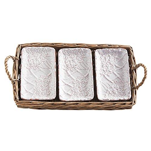 Mud Pie Hydrangea Dip Plates in Basket, White (Hydrangea Gift Basket)