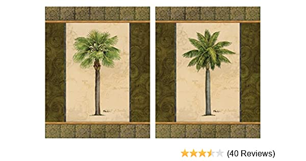 Amazon Com 2 East Indies Palm Tree Art Prints Tropical Home Decor