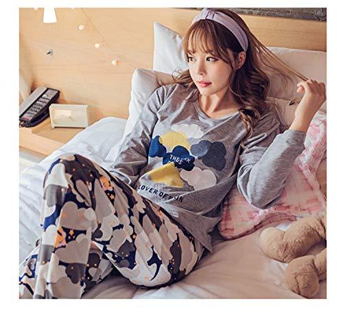 Womens Pajamas Sets 2018 Summer Round Neck Cartoon Kawaii Totoro Cartoon Sleepwear Nighty Female Casual Autumn Winter Pajamas zimuyunduo Gray XL