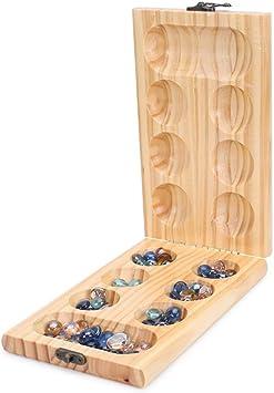 T-W-Z Juego de Mancala, juego de mesa plegable de madera con cuentas de cristal multicolor para