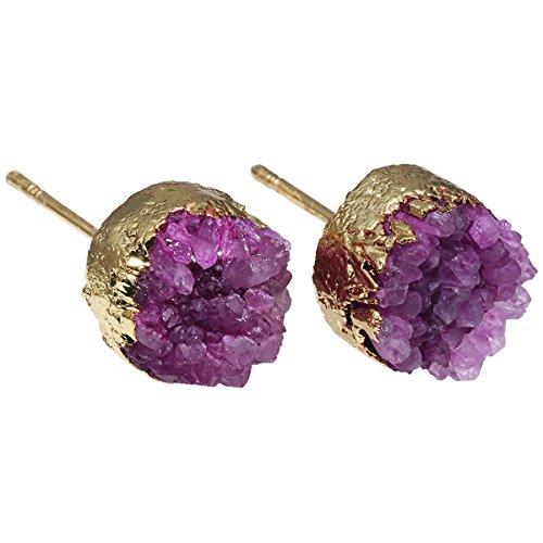 Purple Titanium Earrings - SUNYIK Titanium Purple Quartz Geode Druzy Stud Earrings