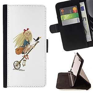 Stuss Case / Funda Carcasa PU de Cuero - Muchacha del arte de la bruja parodia divertida rubia Crow - Samsung Galaxy Note 5 5th N9200
