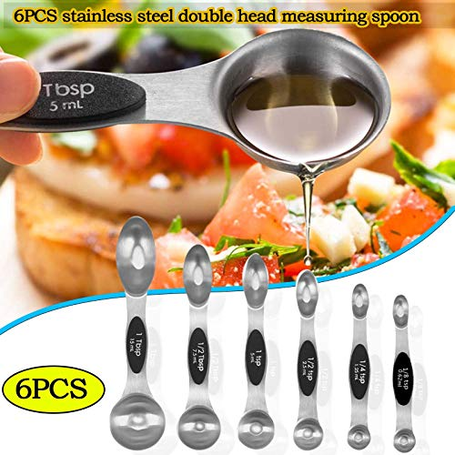 6PC Measuring Spoons Set,Kitchen Measuring Cups Stainless Steel Dual Sided Stackable Teaspoon Tablespoon Magnetic Measuring Cups for Dry and Liquid (Black)