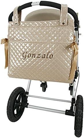Danielstore- Bolso Talega Lactancia PERSONALIZADA Plastificada para carro- capazo bebe- Color a elegir. + Regalo de un babero