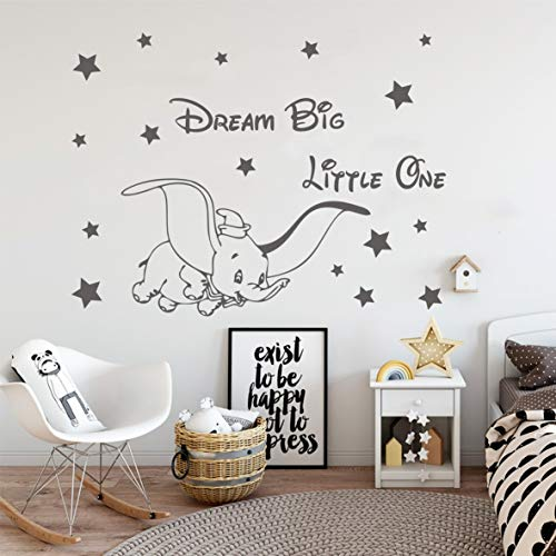 Vinyl Wall Decor Fly Dumbo Dream Big Little One Wall Sticker Cute Elephant Stars Mural Kids Baby Room Decoration Stickers LY1610 (Grey)