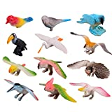 Happy Cherry Plastic Flying Birds Animals Figure Toy Model Set Kids Toy Multi-color - Pack of 12