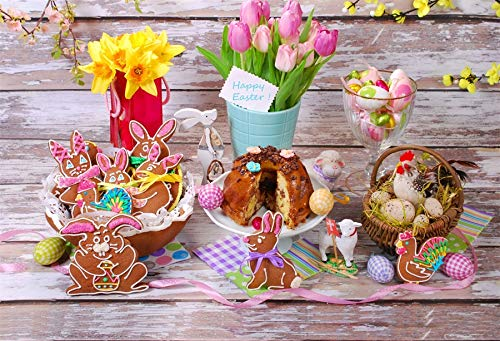 Leyiyi 5x3ft Photography Background Happy Easter Day Backdrop Colored Eggs Hen Gingerbread Lily Bouquet Rustic Basket Cake Table Sweet Rabbit Bunny Revive Christain Photo Portrait Vinyl Studio Prop