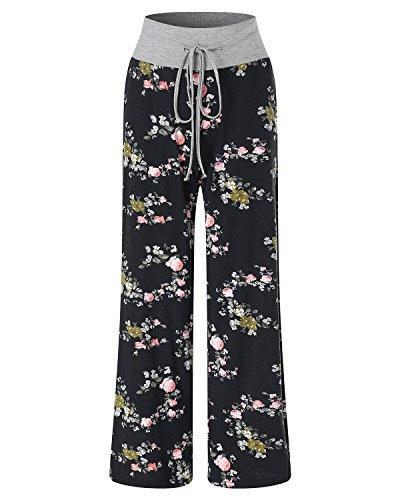 Évasé Cordon Haute Palazzo Auxo Femme Pants À Large Floral Jambes Taille Pantalons Noir Imprimé pYYfqwvS