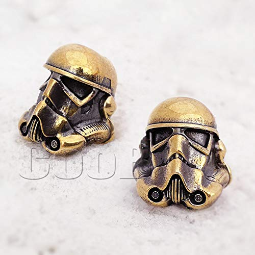 CooB 1Pcs/Lot EDC Paracord Bead Beads Pendant Charm Hair Beard. DIY Beads Charms for Paracord Bracelet, Keychain, Knife Camera Lanyard, Charm Zipper Pull Star Wars (Stormtrooper Helmet Bronze) ()