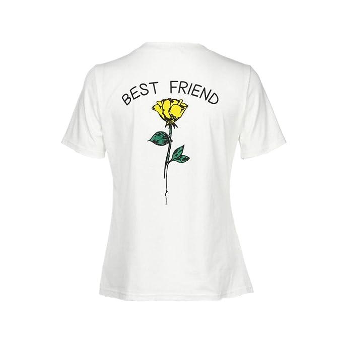ASHOP Blusas y Camisas de Mujer Las Letras del Mejor Amigo de Las Mujeres subieron Las