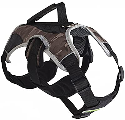 EXPAWLORER Escape Proof Outdoor Dog Harness Safety Air Mesh Reflective 5 Points Adjustment Pet Vest with Handle for Hiking, Walking & Climbing (camouflage, Extra Large)
