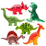 Prextex Dinosaur Baby Bath Toys 6 Piece Set for Baby and Toddler Bathtub Water Squirt Toys Dinosaur Party Favors