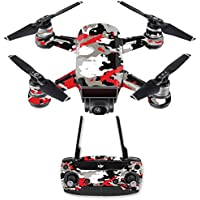 Skin for DJI Spark Mini Drone Combo - Red Camo| MightySkins Protective, Durable, and Unique Vinyl Decal wrap cover | Easy To Apply, Remove, and Change Styles | Made in the USA