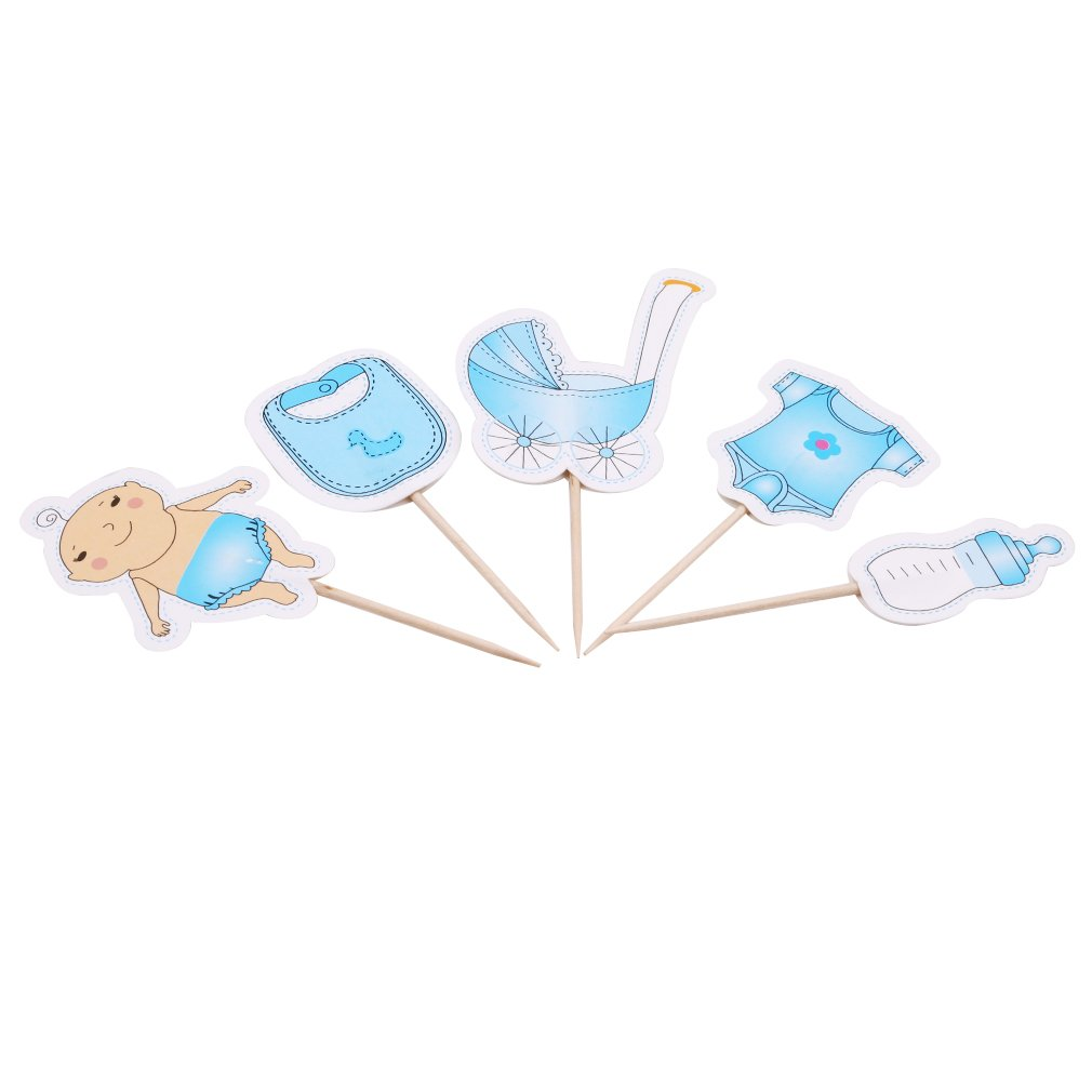 Dolland 20Pcs Cupcake Toppers for Baby Shower It's a Boy Kids Party Cake Decorations,Blue,As description