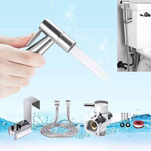 Handheld Bidet Sprayer, YECO Premium Stainless Steel Diaper Sprayer Shattaf-Bidet Toilet Sprayer Kit (Personal Hygiene & Potty Toilet Spray) with Metal Hose,T-Valve,Tank/Wall Mount for Beday Toilet by YECO