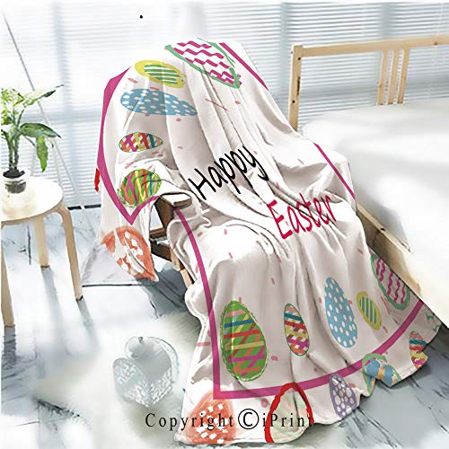 - Printed Flannel Sherpa Back Blanket,Colorful Easter Eggs Background Wallpaper Rustic Home Decor Decorative,One Side Printing,W47.2 xH59.1