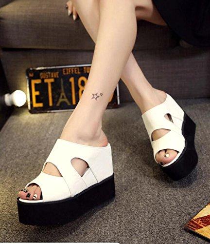 Neue mit 37 White Sandalen Kuchenschuhen der Hochhaus losen 11Cm Starker Koreanische Kaltwasserhausschuhe KHSKX während Sommermonate Pisten Version CwqzPPdU