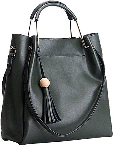 Menschwear Sac à main en cuir véritable avec sac à bandoulière vert rouge
