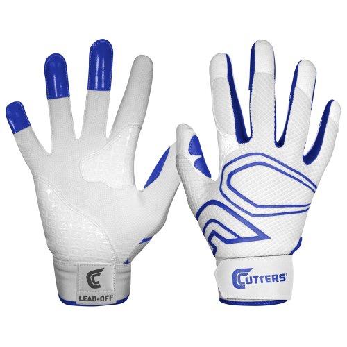 Cutters Gloves Men's Lead-Off Baseball Batting Glove, White/Royal, (Cutter Baseball Batting Gloves)