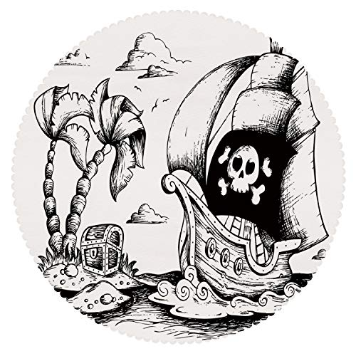 iPrint Round Tablecloth [ Pirate,Drawing of Palm Trees and Sailboat Danger Sign Flag Antique Vessel Treasure Island Decorative,Black White ] Kids Designs