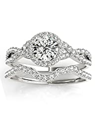 Twisted Infinity Engagement Ring Bridal Set Palladium 0.27ct (No center stone included)