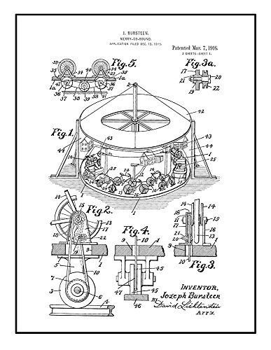 Frame a Patent Merry-go-round Patent Print Black Ink on Whit
