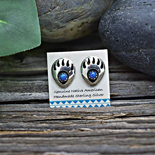 Desert Opal Bear Paw Stud Earrings in 925 Sterling Silver, Native American Handmade in the USA, Dark Blue Synthetic Opal, Nickle Free, Gift -