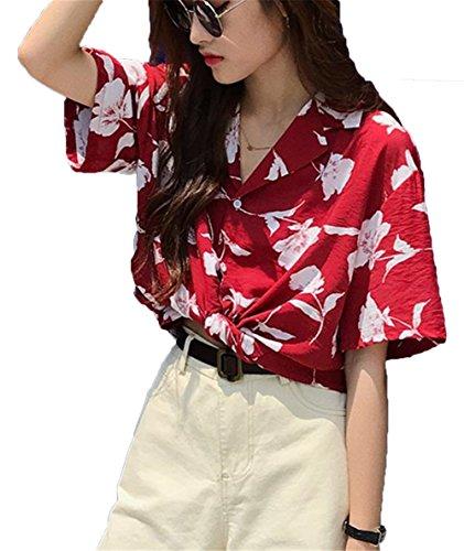 哲学博士壁紙気分が悪い[ジャンーウェ] レディース プリント ポロシャツ アロハシャツ 半袖 夏 花柄 赤い ファッション