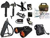 Survival Camping Hiking 20X70 Binoculars Ruby,Emergency First Aid Kit, Sharpener, Axe, Fire Starter Blade, Whistle Flint Striker Belt Buckle, Hydration Backpack, Multi Tool, Compass, Signal Mirror