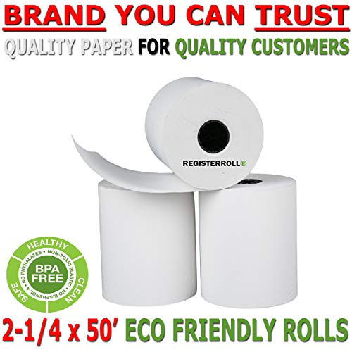 2 1/4 x 50 Thermal Paper Rolls 50 New Rolls | Made in USA - BPA Free | Super Saver Pack - from RegisterRoll (Thermal Paper Rolls 2 1 4 X 50)